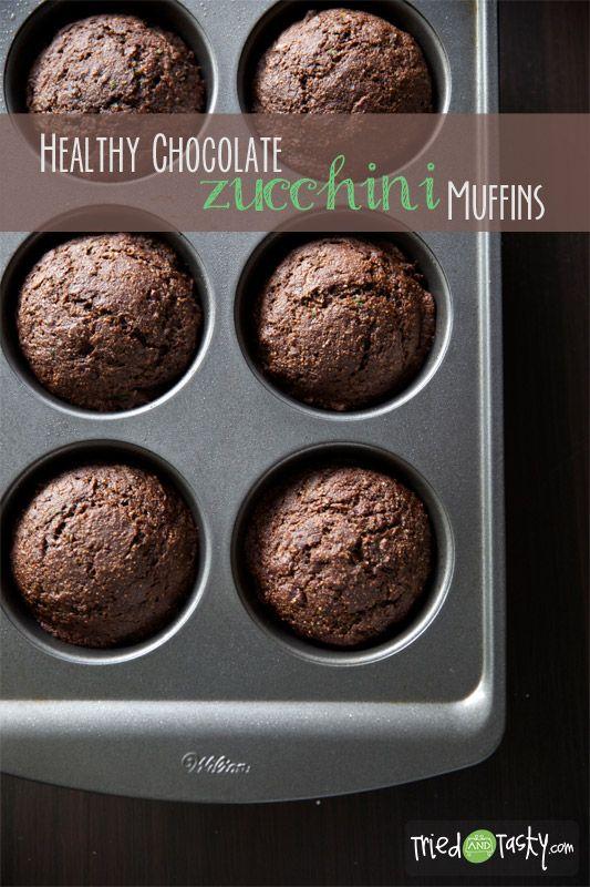 Healthy Chocolate Zucchini Muffins // TriedandTasty