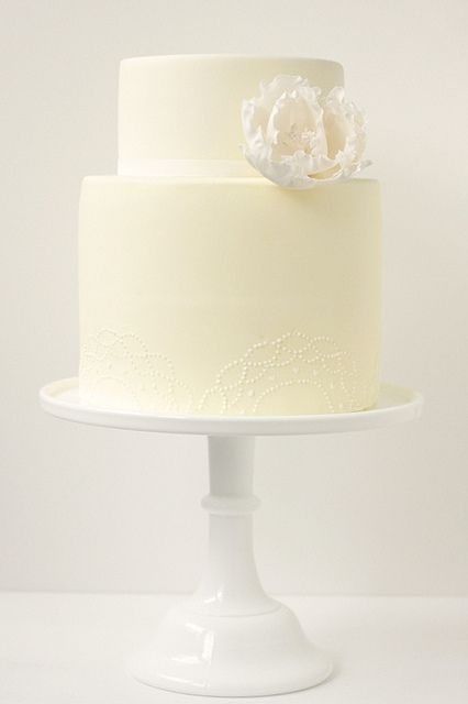 yellow doily wedding cake by hello naomi, via Flickr