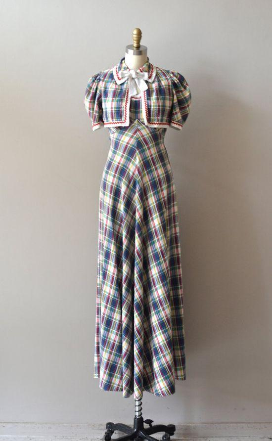 vintage 30s dress / plaid 1930s dress / Parkdale by DearGolden