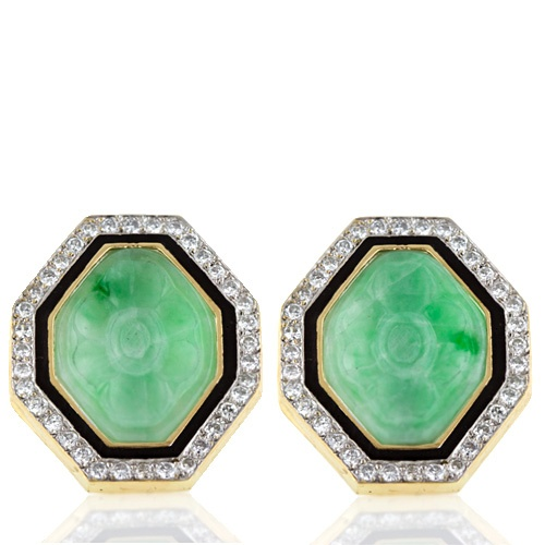 Octagonal Jade and Diamond Earrings