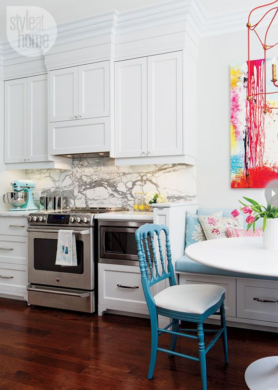 White kitchen, color pops in accents