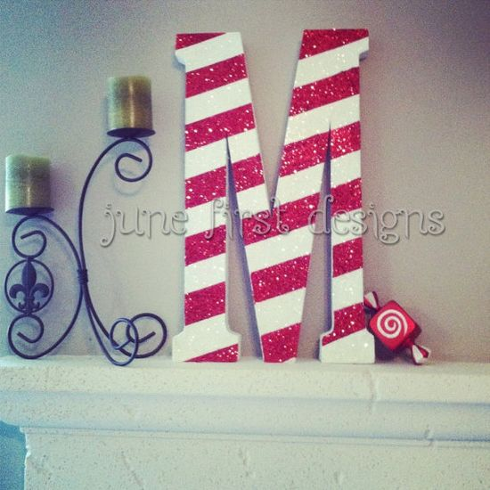 Candy Cane Striped Christmas Monogram Letter by JuneFirstDesigns, $48.00
