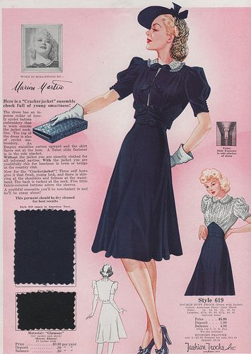 Fashion Frocks, 1940. #vintage #1940s #dresses #fashion #snoods
