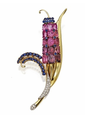 Gold, Colored Sapphire and Diamond 'Reflection' Brooch, Mauboussin