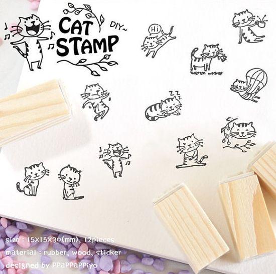 Wooden Rubber Stamp Set Korea DIY Wooden Decoden Stamps-Cat. $5.00, via Etsy.