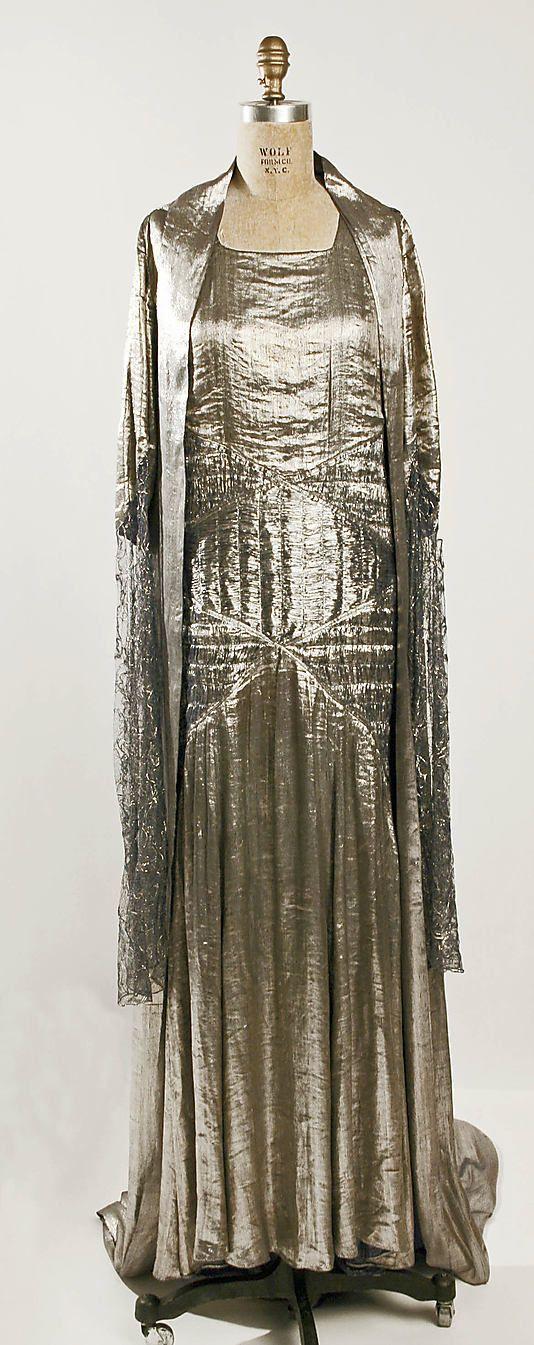 Evening ensemble Designer: Jeanne Lanvin (French, 1867–1946) Date: 1930 Culture: French Medium: silk, metallic thread Front 2