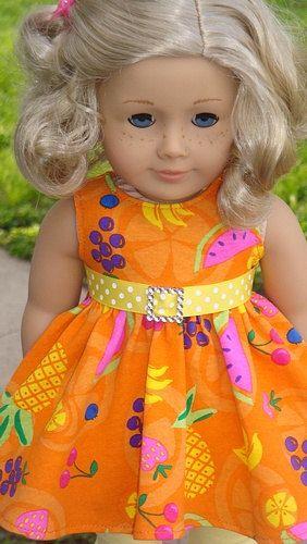 Orange Fruit Print Twirl Dress And Leggings For American Girl Or Similar 18-Inch Dolls