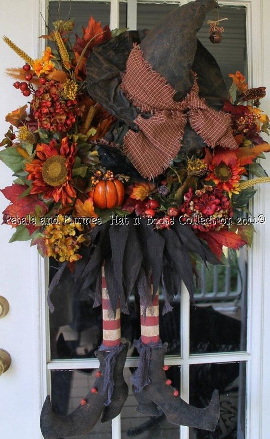 "Halloween Wreath-Primitive Witch w/ Matching Crow - ""Halloween-Hat n' Boots Collection©"""