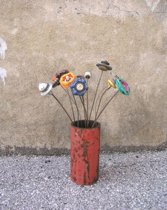 Single Stem Handmade Flower Flower Art Garden by IndustrialBloom, $18.00