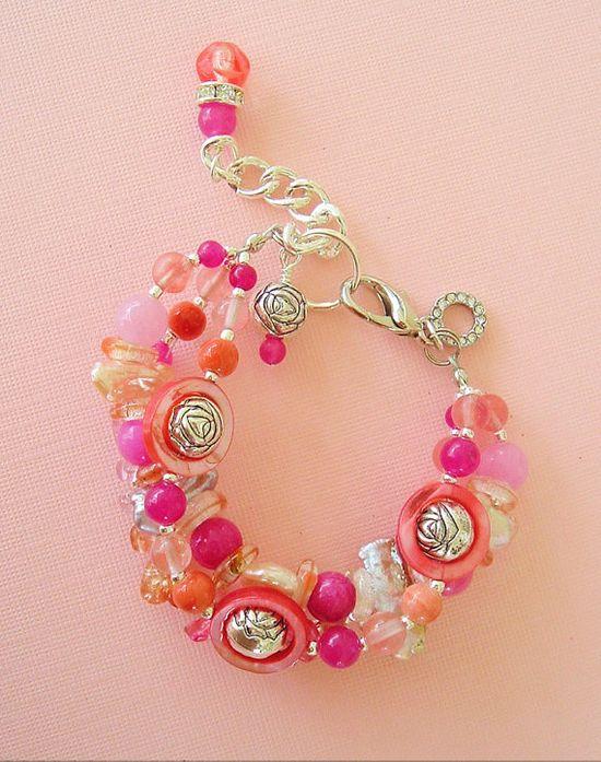 Boho Bracelet Bohemian Jewelry Gypsy Pink Peach by BohoStyleMe