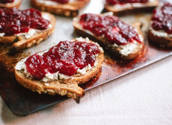 Cranberry goat cheese crostini