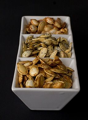 Three different toasted pumpkin seeds recipes.