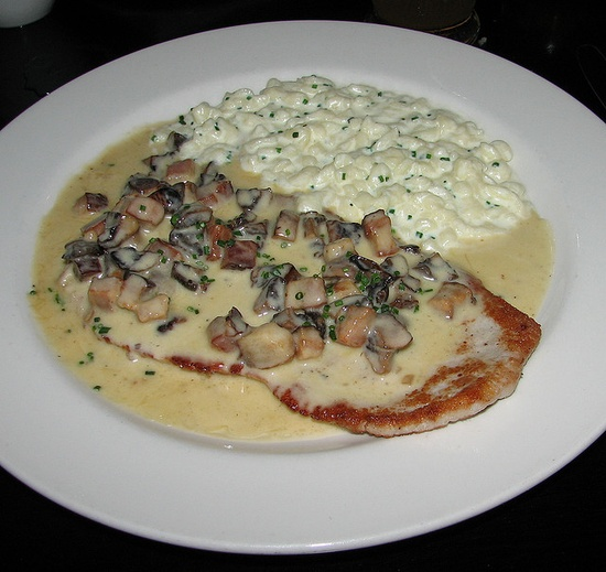 Jager schnitzel, mushrooms, bacon, and fresh herbed spatzle = German food heaven.