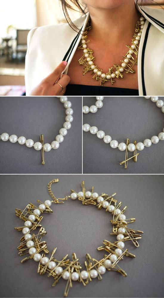 7 DIY Fashion Projects - Safety pin and pearl necklace