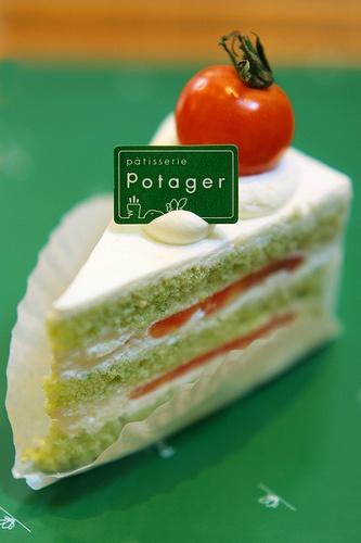#Veggie Cake: Green sponge cake (with grained kamatsuna  (like spinach))