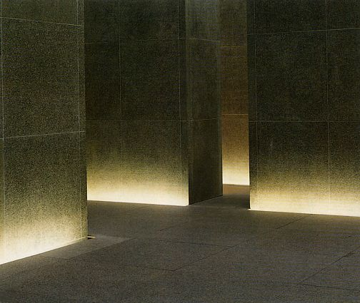 Plinth lights inside the Cathay Pacific lounges at Chep Lap Kok airport by John Pawson.