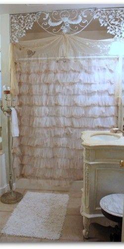 White Shabby Chic bathroom Ruffles