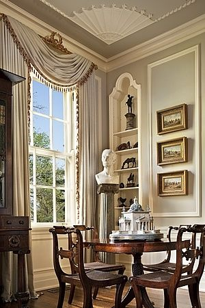 classic window treatments with gilt valance
