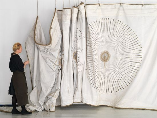 Grethe Wittrock: hand stitching on old ships' sails