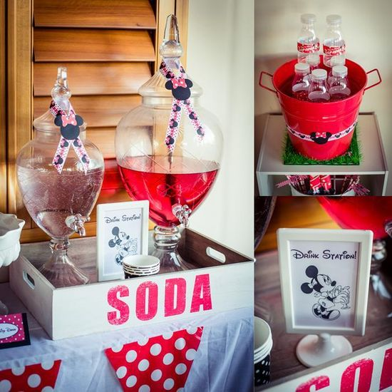 Love this DRINK STATION at a Minnie Mouse Party with So Many Really Cute Ideas via Kara's Party Ideas