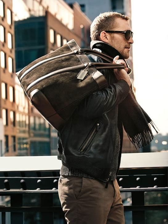 Brown Suede Duffle and Leather Jacket. Mens Fall Winter Fashion.
