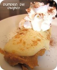 Pumpkin Pie Crepes from Six Sisters on MyRecipeMagic.com. The perfect crepe for the holidays! #crepes #pumpkin #pie