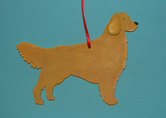 Golden Retriever Dog  Handpainted Wood Ornament by art4milkbones, $14.00