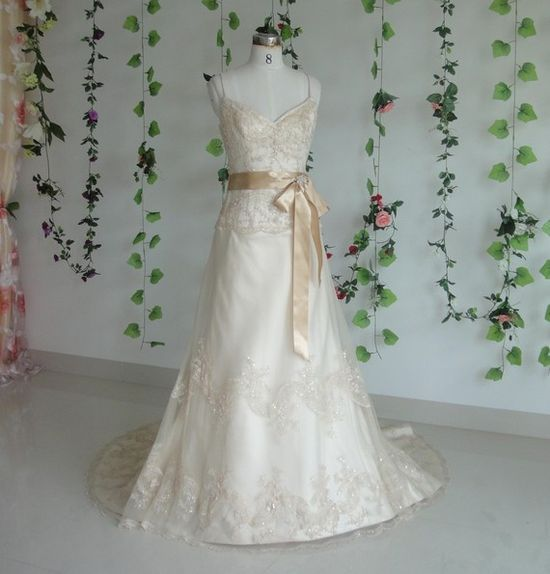 Wedding Gown with Champagne Couture Lace by WeddingDressFantasy, $659.00