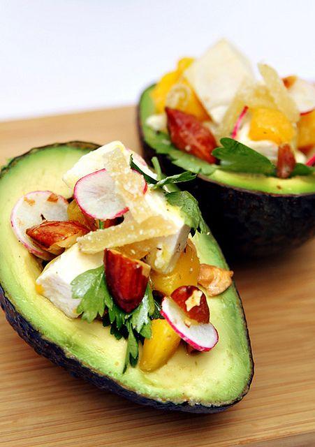 California Avocado with Chicken, Almonds, and Mango by thravenouscouple #Chicken #Avocado #Salad #theravenouscouple