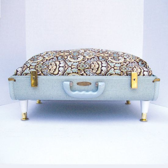 Pet Bed from Vintage 40s Suitcase  Light Blue with by Spaghetteria, $75.00