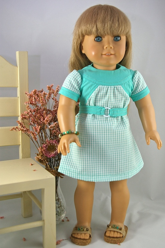 American Girl 18 inch doll dress Easter spring color block turquoise aqua check with belt. $12.00, via Etsy.