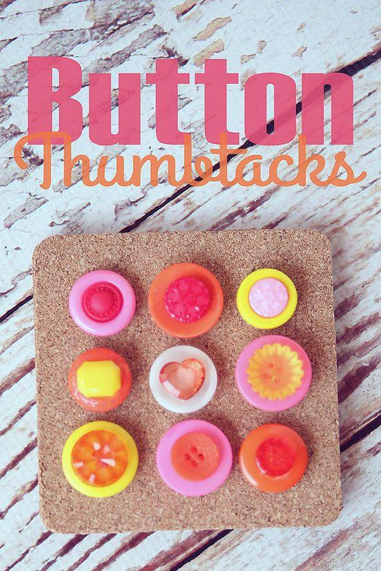 Button Thumbtacks - so fun and easy to make