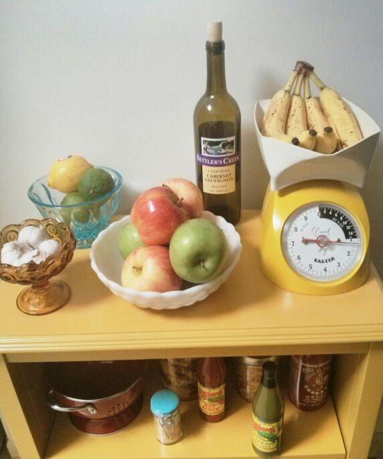 Kitchen decor - kitchen storage - yellow shelving