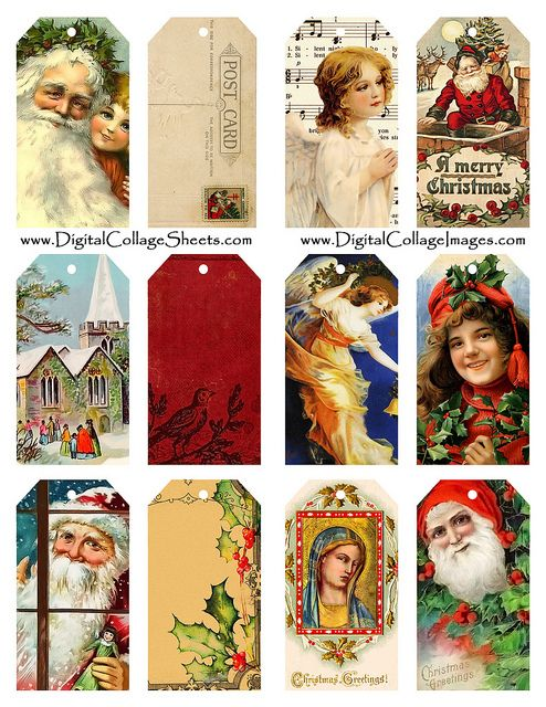 Free To Use Christmas Gift Tags Collage Sheet