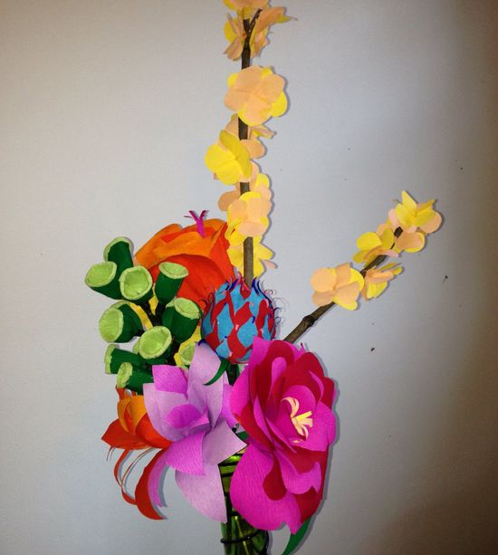 Large colorful handmade flowers arrangement by HappyHourFlower $175.00