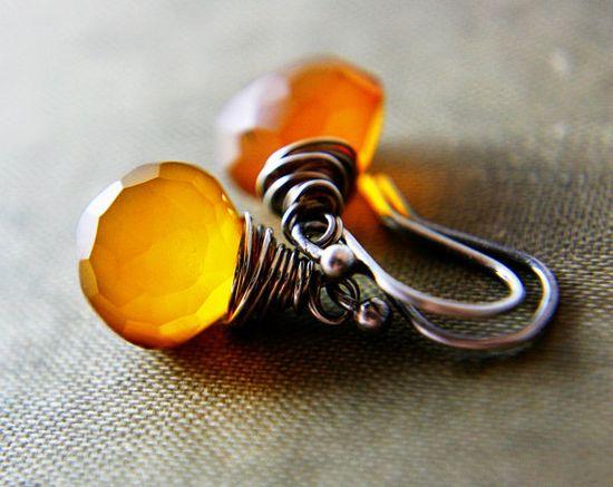 Beautiful Pumpkin Orange Earrings #earrings #jewelry #orange #chalcedony @PoleStar $35.00