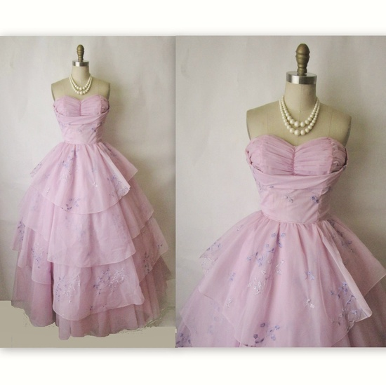 50's Chiffon Dress // Vintage 1950's Strapless Embroidered Orchid Chiffon Wedding Party Prom Dress S. $168.00, via Etsy.