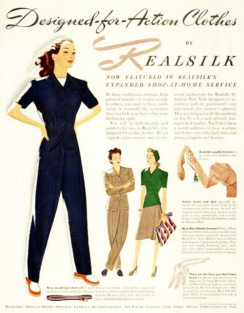 Designed-for-action clothes by Realsilk, 1942. #vintage #clothes #ad #fashion #WW2 #1940s