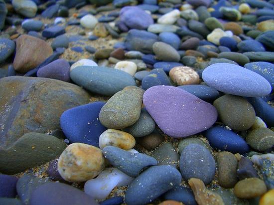 Purple rocks on a beach in Ireland