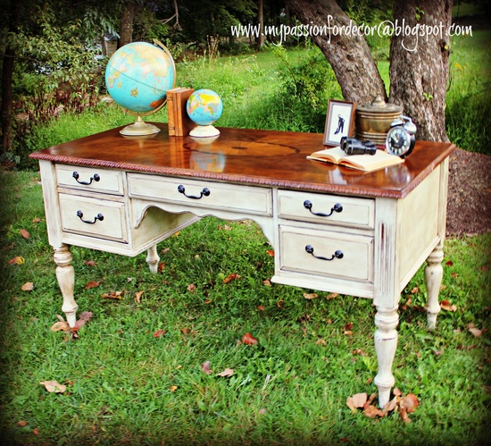 My Passion For Decor: A New Desk For The Hubby Annie Sloan Chalk Paint Pure White. Distressed. Clear wax followed by dark wax. Lovely.