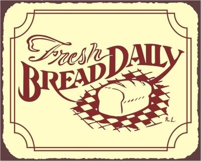 Fresh Daily Bread Loaf Bakery Vintage Metal Art Sign Coffee Shop Diner Wall Cafe