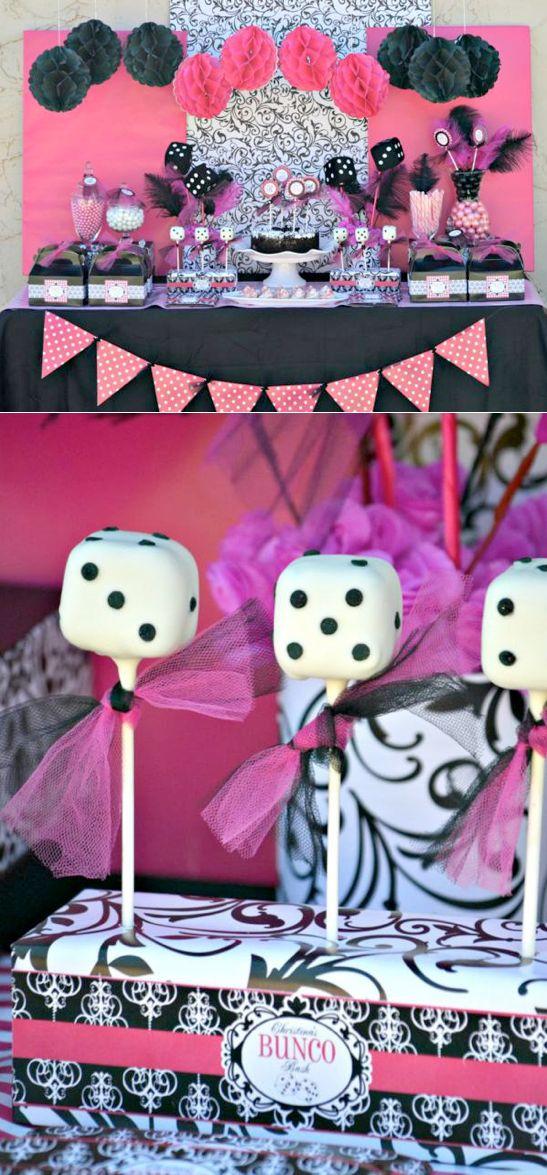Pink BUNCO themed teen birthday party via Kara's Party Ideas KarasPartyIdeas.com #pink #bunco #themed #birthday #party #ideas #idea