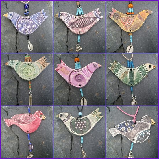 polymer and bead clay bird ornaments