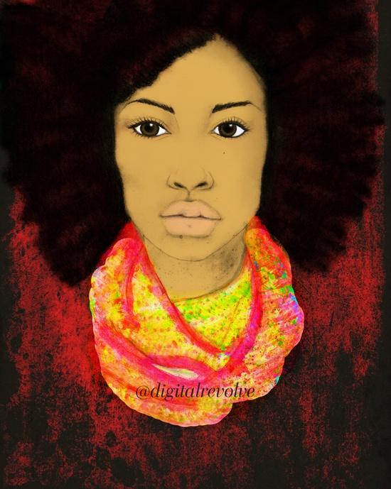 New Afro Girl Illustration, fashion illustration