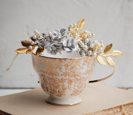Bridal Headband Golden Leaf Pearls Rhinestones by redtruckdesigns