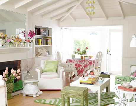 Just love this color scheme - would make a lovely sunroom - and the flowers bring it to life!