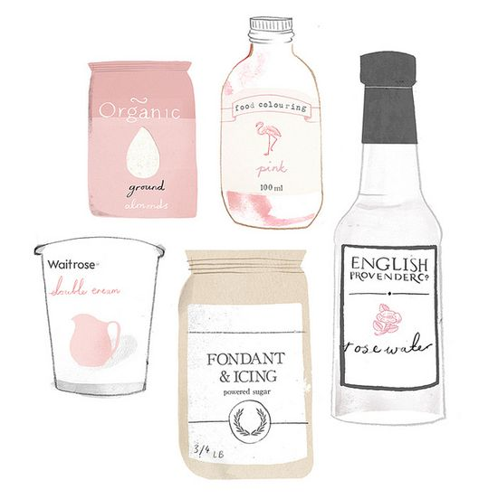 rose macaroon ingredients / illustration by clare owen