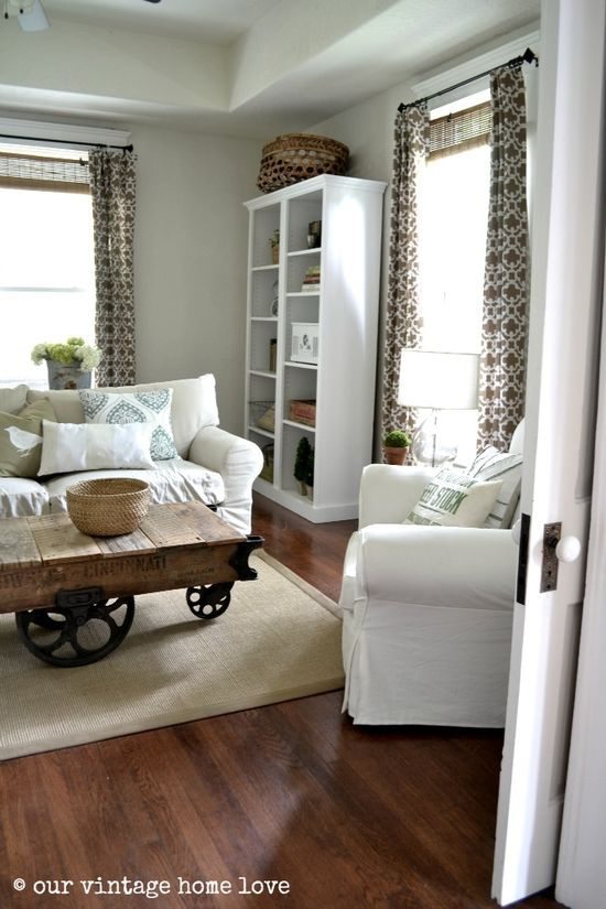 Love the coffee table and curtains - our vintage home love blog