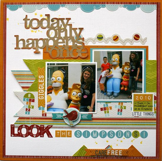 #papercraft #Scrapbook #layout   look the simpsons - Imaginisce
