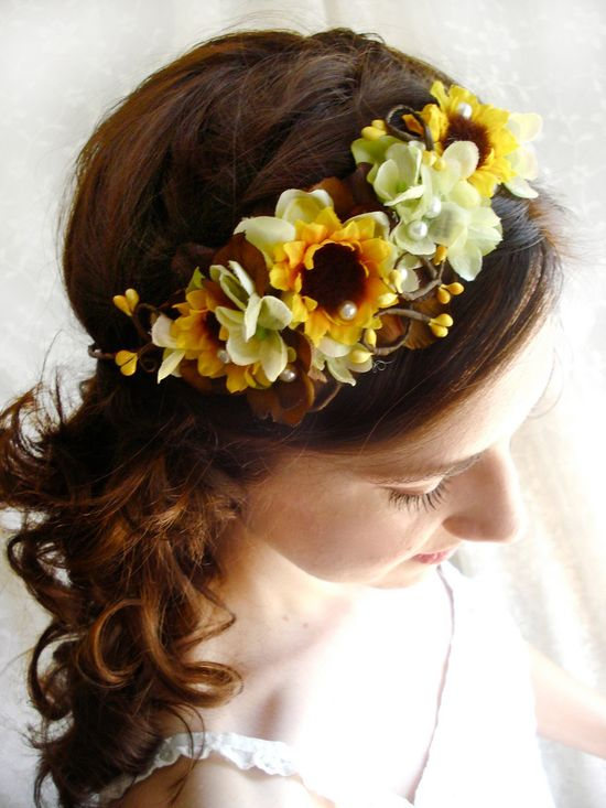 sunflower autumn head wreath - CHARMED- a fall wedding, bridal, flower girl crown. $85.00, via Etsy.